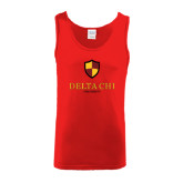 Red Tank Top-Delta Chi Fraternity W/ Shield Stacked
