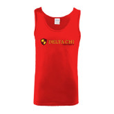 Red Tank Top-Delta Chi Fraternity W/ Shield Flat