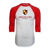 White/Red Raglan Baseball T-Shirt-Delta Chi Fraternity W/ Shield Stacked