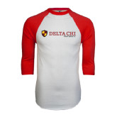 White/Red Raglan Baseball T-Shirt-Delta Chi Fraternity W/ Shield Flat