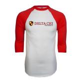 White/Red Raglan Baseball T-Shirt-Delta Chi Fraternity W/ Shield Flat