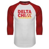White/Red Raglan Baseball T Shirt-DELTA CHI Chapter