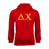 Red Fleece Hoodie-Solid Greek Letters