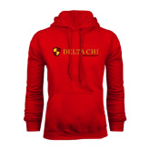 Red Fleece Hoodie-Delta Chi Fraternity W/ Shield Flat