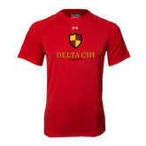 Under Armour Red Tech Tee-Delta Chi Fraternity W/ Shield Stacked