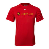Under Armour Red Tech Tee-Delta Chi Fraternity W/ Shield Flat