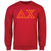 Red Fleece Crew-Greek Letters