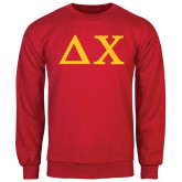 Red Fleece Crew-Solid Greek Letters