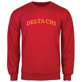 Red Fleece Crew-Arched Delta Chi
