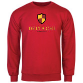 Red Fleece Crew-Delta Chi Fraternity W/ Shield Stacked