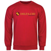 Red Fleece Crew-Delta Chi Fraternity W/ Shield Flat