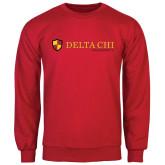 Red Fleece Crew-Delta Chi Fraternity W/ Shield Flat