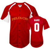 Replica Red Adult Baseball Jersey-Arched Delta Chi Personalized