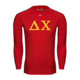 Under Armour Red Long Sleeve Tech Tee-Solid Greek Letters
