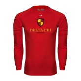 Under Armour Red Long Sleeve Tech Tee-Delta Chi Fraternity W/ Shield Stacked