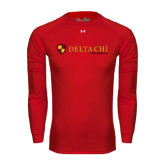 Under Armour Red Long Sleeve Tech Tee-Delta Chi Fraternity W/ Shield Flat