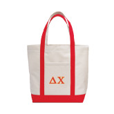 Contender White/Red Canvas Tote-Greek Letters