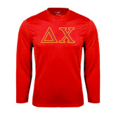 Performance Red Longsleeve Shirt-Greek Letters