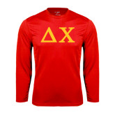 Performance Red Longsleeve Shirt-Solid Greek Letters