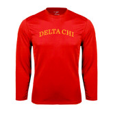 Performance Red Longsleeve Shirt-Arched Delta Chi