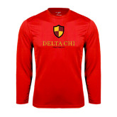 Performance Red Longsleeve Shirt-Delta Chi Fraternity W/ Shield Stacked