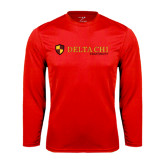 Performance Red Longsleeve Shirt-Delta Chi Fraternity W/ Shield Flat