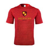 Performance Red Heather Contender Tee-Delta Chi Fraternity W/ Shield Stacked