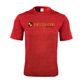 Performance Red Heather Contender Tee-Delta Chi Fraternity W/ Shield Flat