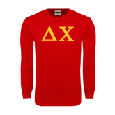 Red Long Sleeve T Shirt-Solid Greek Letters