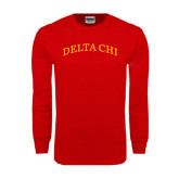 Red Long Sleeve T Shirt-Arched Delta Chi
