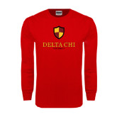 Red Long Sleeve T Shirt-Delta Chi Fraternity W/ Shield Stacked