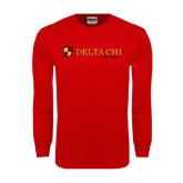 Red Long Sleeve T Shirt-Delta Chi Fraternity W/ Shield Flat