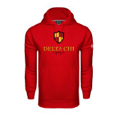 Under Armour Red Performance Sweats Team Hoodie-Delta Chi Fraternity W/ Shield Stacked