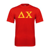 Performance Red Tee-Solid Greek Letters