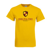 Gold T Shirt-Delta Chi Fraternity W/ Shield Stacked