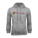 Grey Fleece Hoodie-Delta Chi Fraternity W/ Shield Flat