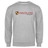 Grey Fleece Crew-Delta Chi Fraternity W/ Shield Flat