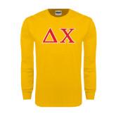 Gold Long Sleeve T Shirt-Greek Letters