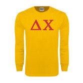 Gold Long Sleeve T Shirt-Solid Greek Letters