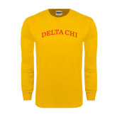Gold Long Sleeve T Shirt-Arched Delta Chi