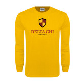 Gold Long Sleeve T Shirt-Delta Chi Fraternity W/ Shield Stacked