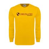 Gold Long Sleeve T Shirt-Delta Chi Fraternity W/ Shield Flat
