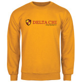 Gold Fleece Crew-Delta Chi Fraternity W/ Shield Flat