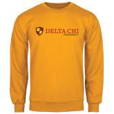 Gold Fleece Crew-Delta Chi Fraternity W/ Shield Flat