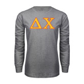 Grey Long Sleeve T Shirt-Greek Letters