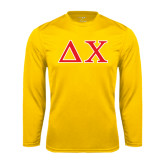 Syntrel Performance Gold Longsleeve Shirt-Greek Letters