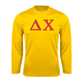 Performance Gold Longsleeve Shirt-Solid Greek Letters