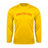 Performance Gold Longsleeve Shirt-Arched Delta Chi