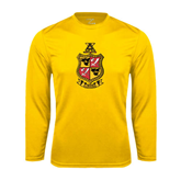 Syntrel Performance Gold Longsleeve Shirt-Contemporary Coat Of Arms