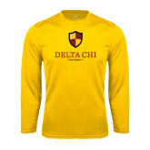 Performance Gold Longsleeve Shirt-Delta Chi Fraternity W/ Shield Stacked